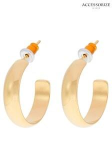 Accessorize Gold Tone Plain Hoop Earrings