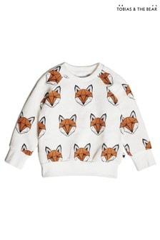 סווטשירט קלאסי שלTobias & The Bear דגם Just Call Me Fox מכותנה אורגנית בצבע לבן עם שועלים