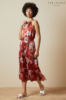 Ted Baker Brown Sayana Red Cabana Halter Neck Midi Dress