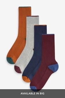 Lot de quatre paires de chaussettes texturées