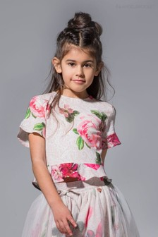 Angel & Rocket Pink Frill Sleeve Floral Top