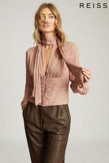 Розовая приталенная блузка с бантом Reiss Skye