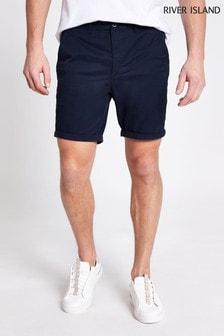River Island Vienna Skinny-Shorts, Marineblau