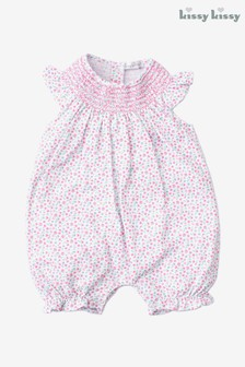 Kissy Kissy Pink Ditsy Floral Smocked Playsuit