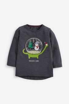 Long Sleeve Interactive Snow Globe Jersey T-Shirt (3mths-7yrs)