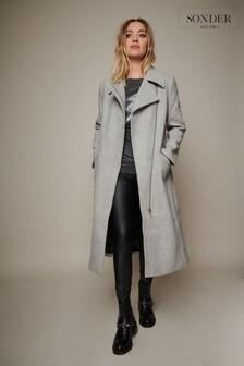 Sonder Studio Grey Longline Wool Biker Coat