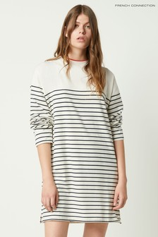 French Connection Cream Tim Tim Breton Stripe Long Sleeve Dress