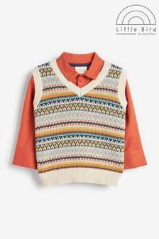 Little Bird Shirt and Knitted Vest Set