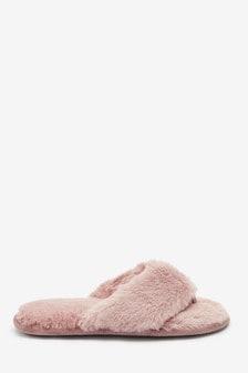 Papuče z umelej kožušiny z recyklovaného materiálu
