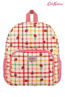 Cath Kidston® Cream Strawberry Gingham Kids Classic Large Rucksack with Mesh Pocket