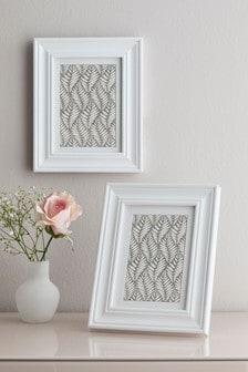 White Set of 2 Hampton Photo Frames