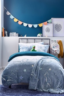 Teal Blue Glow In The Dark Supersoft Fleece Dinosaur Duvet Cover and Pillowcase Set