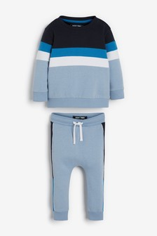 Топ с круглым вырезом и спортивные брюки в стиле колор блок  (3 мес.-7 лет)
