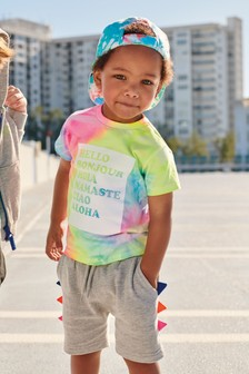Batikované tričko s krátkymi rukávmi a s nápisom (3 mes. – 7 rok.)