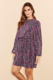Каскадное мини-платье с плиссированной юбкой