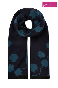 Joules Blue Jacquelyn Reversible Soft Scarf