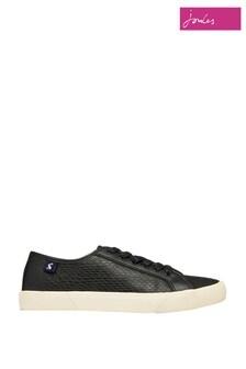 Joules Coast Flache Schuhe aus Lederimitat, Schwarz