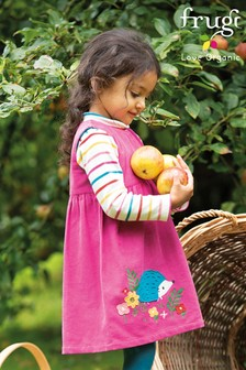 Frugi GOTS Organic Cord Dress - Pink Hedgehogs