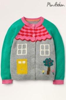 Mini Boden Grey Fun House Cardigan