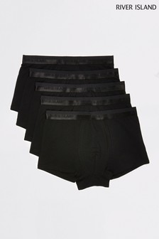River Island Black Plain Hipster Briefs Five Pack