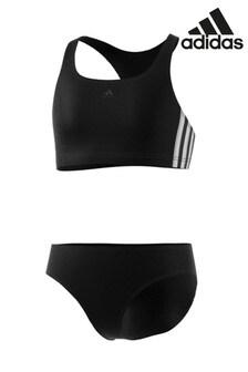 Черный купальник из 2 частей с3 полоскамиadidas