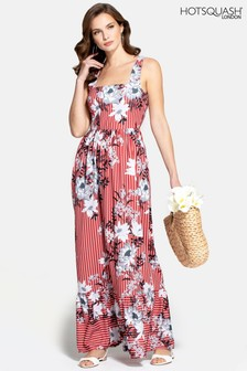 HotSquash Red Square Neck Maxi Dress