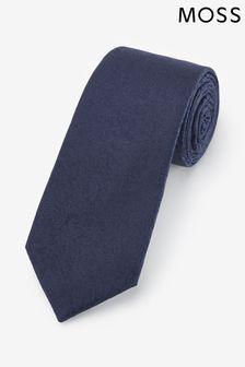 Moss 1851 marineblauwe stropdas met bloemenprint