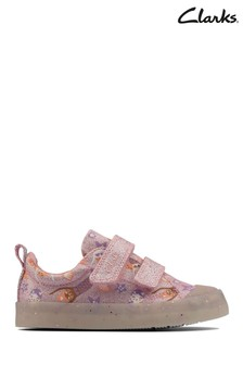 Clarks Pink Canvas Foxing Print T Canvas Shoes