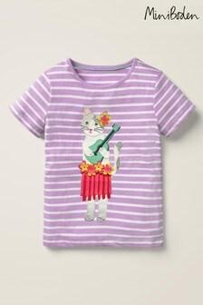 Boden Purple Tassel Appliqué T-Shirt