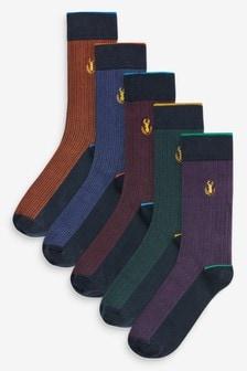 Dogtooth Check Socks Five Pack