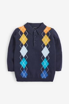 Knitted Rainbow Argyle Pattern Polo (3mths-7yrs)
