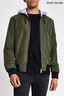 River Island Khaki Hooded Bomber Jacket