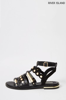 River Island Black Caged Gladiator Sandals