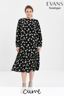 Evans Curve Kleid mit gestuftem Saum, und Blumenmuster, schwarz