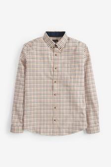 Brushed Flannel Tattersall Check Long Sleeve Shirt