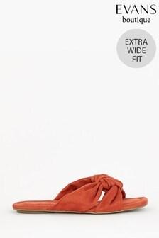 Evans Sandalen in extraweiter Passform mit eckiger Zehenpartie und Knoten, Orange