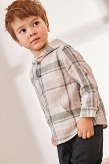 Рубашка в клетку с длинными рукавами и капюшоном  (3 мес.-7 лет)