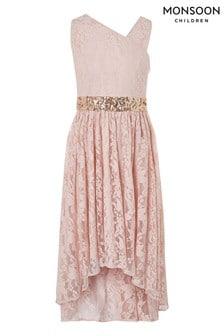Monsoon Pink Abigail Lace Prom Dress