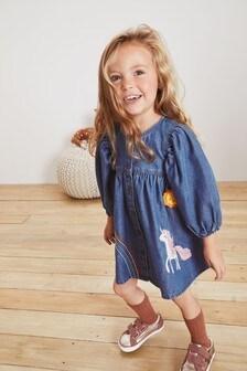 Платье с аппликацией в виде единорога (3 мес.-7 лет)