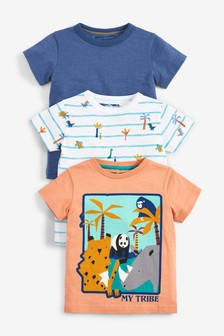 3件裝My Tribe動物圖案T恤 (3個月至7歲)
