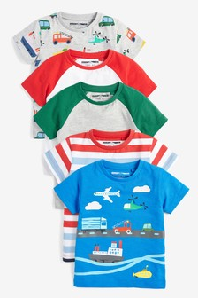 5 Pack Transport T-Shirts (3mths-7yrs)
