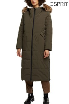 Esprit Womens Green Woven Long Coat