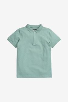 Фактурная рубашка поло на молнии (3-16 лет)