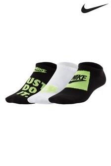Nike Kids Black/Volt Invisible Socks Three Pack