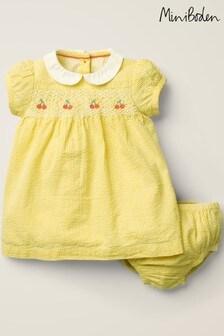 Boden Yellow Nostalgic Smocked Dress