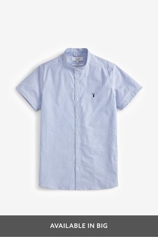Short Sleeve Stretch Oxford Grandad Collar Shirt
