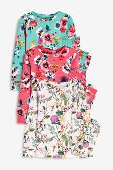 Weicher, kuscheliger Pyjama mit Blumenmuster,3er-Pack (9Monate bis 16Jahre)