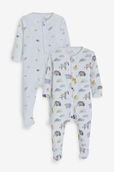 2 Pack Safari Zip Sleepsuit (0mths-2yrs)