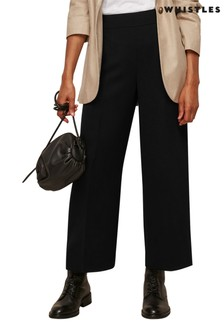 Whistles Black Wide Leg Crop Trousers
