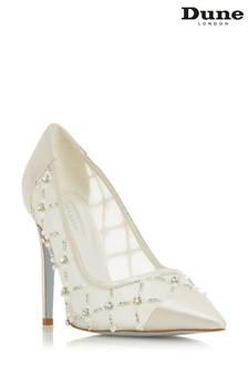 Dune London Ballgown Ivory Synthetic Pearl Crystal Quilt Detail Wedding Shoes